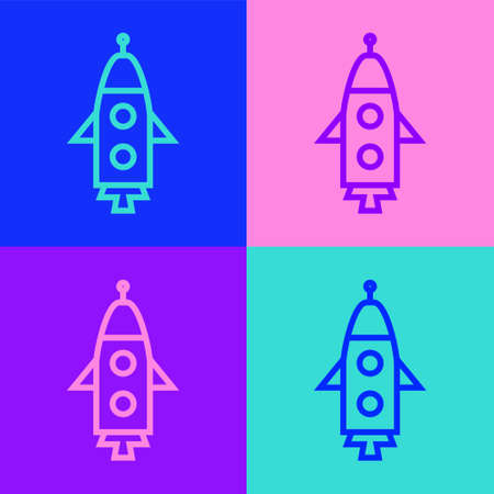 Pop art line Rocket ship icon isolated on color background. Space travel. Vector. 向量圖像
