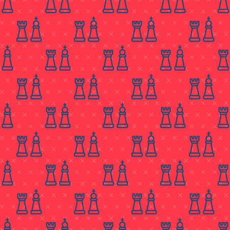 Blue line Chess icon isolated seamless pattern on red background. Business strategy. Game, management, finance. Vector. 向量圖像