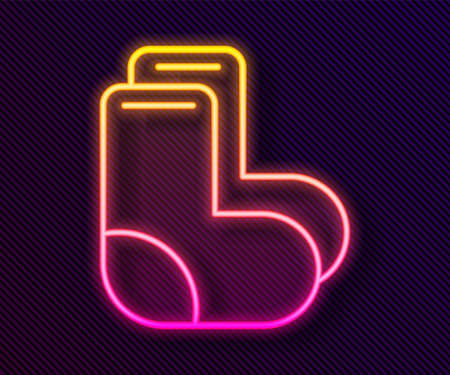 Glowing neon line Valenki icon isolated on black background. National Russian winter footwear. Traditional warm boots in Russia. Vector.