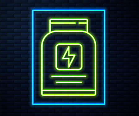 Glowing neon line Sports nutrition bodybuilding proteine power drink and food icon isolated on brick wall background. Vector.