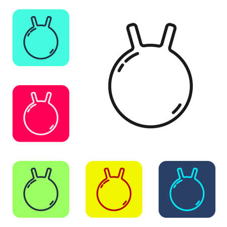 Black line Kettlebell icon isolated on white background. Sport equipment. Set icons in color square buttons. Vector.