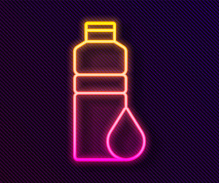 Glowing neon line Fitness shaker icon isolated on black background. Sports shaker bottle with lid for water and protein cocktails. Vector.
