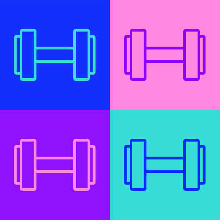 Pop art line Dumbbell icon isolated on color background. Muscle lifting icon, fitness barbell, gym, sports equipment, exercise bumbbell. Vector.