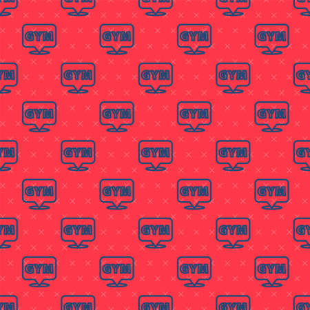 Blue line Location gym icon isolated seamless pattern on red background. Vector.