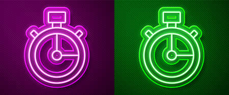 Glowing neon line Stopwatch icon isolated on purple and green background. Time timer sign. Chronometer sign. Vector.