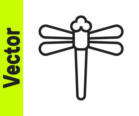 Black line Dragonfly icon isolated on white background. Vector. Ilustracja