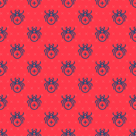 Blue line Spider icon isolated seamless pattern on red background. Happy Halloween party. Vector. Ilustração