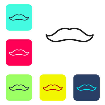 Black line Mustache icon isolated on white background. Barbershop symbol. Facial hair style. Set icons in color square buttons. Vector. Çizim