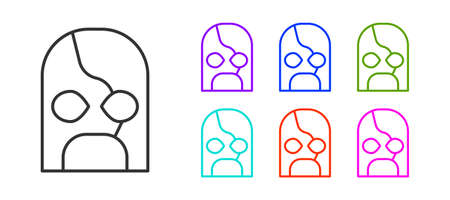 Black line Mexican wrestler icon isolated on white background. Set icons colorful. Vector.