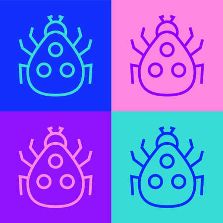 Pop art line Ladybug icon isolated on color background. Vector.