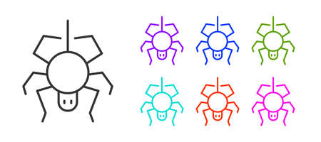 Black line Spider icon isolated on white background. Happy Halloween party. Set icons colorful. Vector. Ilustração