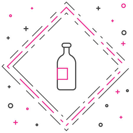 Line Alcohol drink bottle icon isolated on white background. Colorful outline concept. Vector Illustration.