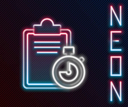 Glowing neon line Verification of delivery list clipboard icon isolated on black background. Colorful outline concept. Vector Illustration.