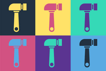 Pop art Hammer icon isolated on color background. Tool for repair.  Vector Illustration. 일러스트