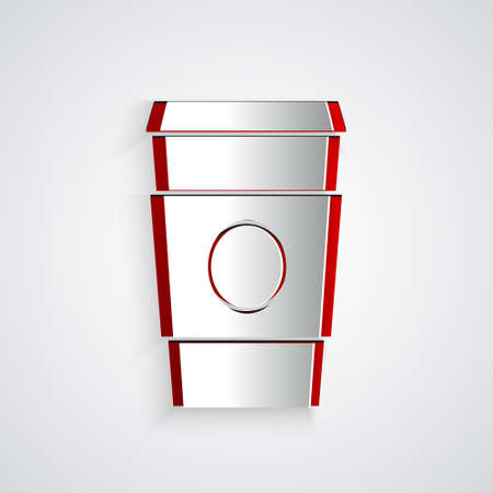 Paper cut Coffee cup to go icon isolated on grey background. Paper art style. Vector Illustration.