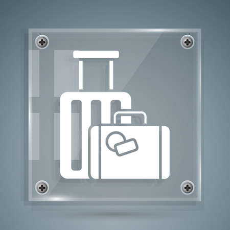 White Suitcase for travel icon isolated on grey background. Traveling baggage sign. Travel luggage icon. Square glass panels. Vector Illustration.