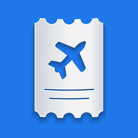 Paper cut Airline ticket icon isolated on blue background. Plane ticket. Paper art style. Vector Illustration.