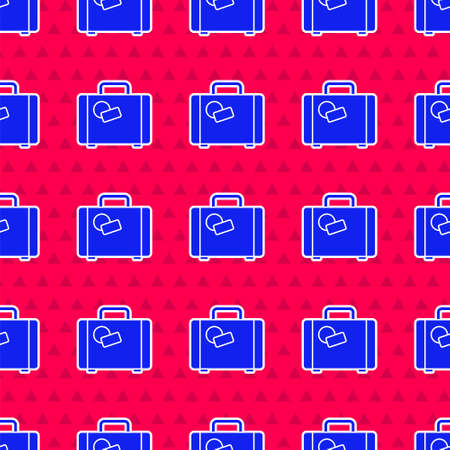 Blue Suitcase for travel icon isolated seamless pattern on red background. Traveling baggage sign. Travel luggage icon.  Vector Illustration.