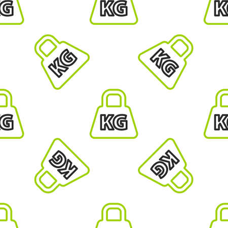 Line Weight icon isolated seamless pattern on white background. Kilogram weight block for weight lifting and scale. Mass symbol. Vector Illustration.