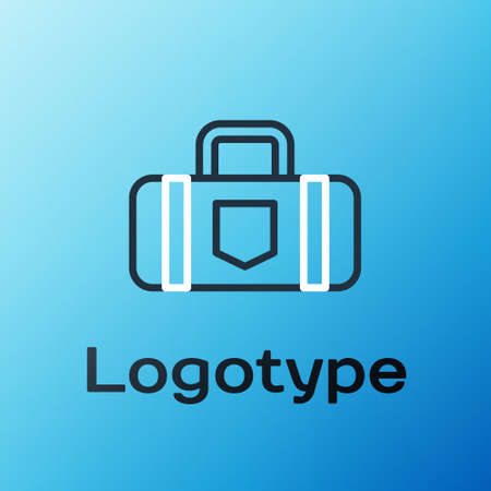 Line Suitcase for travel icon isolated on blue background. Traveling baggage sign. Travel luggage icon. Colorful outline concept. Vector Illustration. Illusztráció