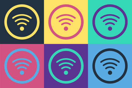 Pop art WiFi wireless internet network symbol icon isolated on color background.  Vector Illustration.