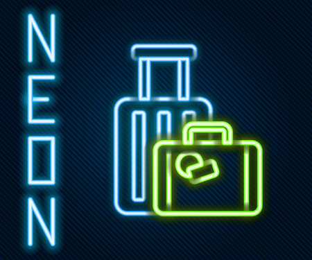 Glowing neon line Suitcase for travel icon isolated on black background. Traveling baggage sign. Travel luggage icon. Colorful outline concept. Vector Illustration. Illusztráció