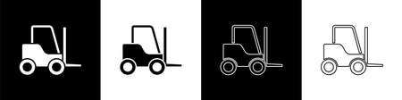 Set Forklift truck icon isolated on black and white background. Fork loader and cardboard box. Cargo delivery, shipping, transportation.  Vector Illustration.