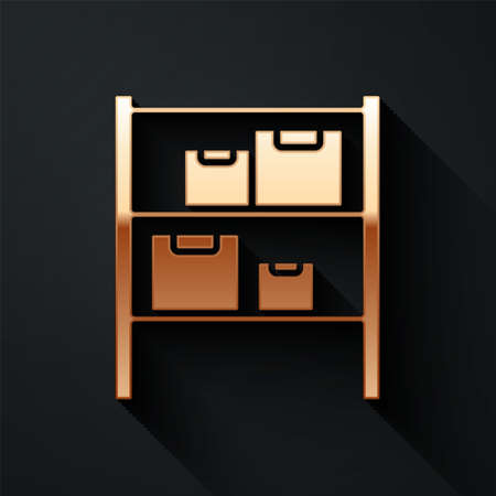 Gold Warehouse icon isolated on black background. Long shadow style. Vector Illustration.
