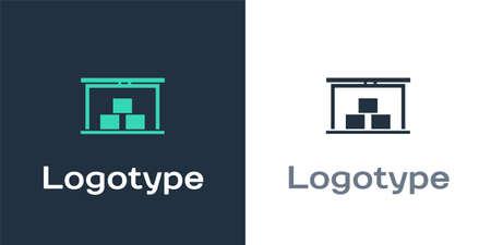 Logotype Warehouse icon isolated on white background. Logo design template element. Vector Illustration.
