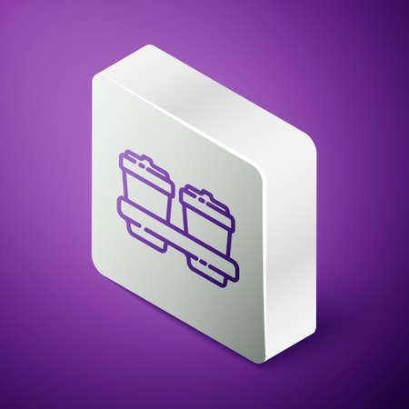 Isometric line Coffee cup to go icon isolated on purple background. Silver square button. Vector Illustration.