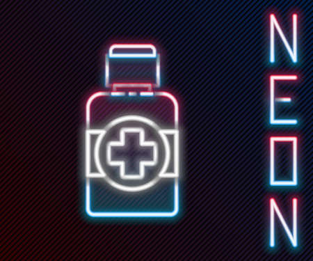 Glowing neon line Bottle of medicine syrup icon isolated on black background. Colorful outline concept. Vector Illustration.
