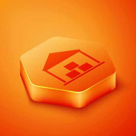 Isometric Warehouse icon isolated on orange background. Orange hexagon button. Vector Illustration.