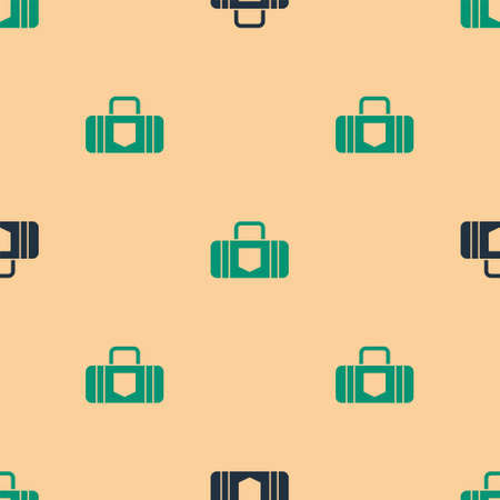 Green and black Suitcase for travel icon isolated seamless pattern on beige background. Traveling baggage sign. Travel luggage icon.  Vector Illustration.