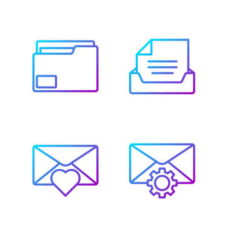 Set line Envelope setting, Envelope with Valentine heart, Document folder and Drawer with document. Gradient color icons. Vector.