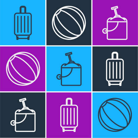 Set line Suitcase, Sand in bucket with shovel and Beach ball icon. Vector.