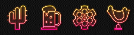 Set line Revolver cylinder, Cactus, Wooden beer mug and Wild west saddle. Glowing neon icon. Vector.