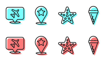 Set line Starfish, Speech bubble with airplane, Map pointer with star and Ice cream in waffle cone icon. Vector.