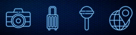 Set line Lollipop, Photo camera, Suitcase and Location on the globe. Glowing neon icon on brick wall. Vector.