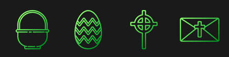 Set line Christian cross, Basket, Easter egg and Greeting card with Happy Easter. Gradient color icons. Vector. Illusztráció