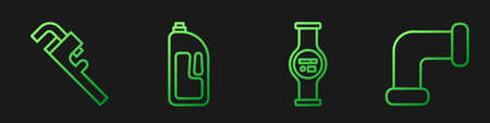 Set line Water meter, Pipe adjustable wrench, Container with drain cleaner and Industry metallic pipe. Gradient color icons. Vector. 일러스트