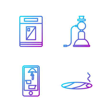 Set line Cigar with smoke, Buying drugs online on phone, Cigarettes pack box and Hookah. Gradient color icons. Vector.