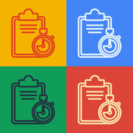 Pop art line Verification of delivery list clipboard icon isolated on color background. Vector Illustration.
