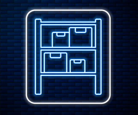 Glowing neon line Warehouse icon isolated on brick wall background.  Vector Illustration.