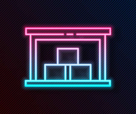 Glowing neon line Warehouse icon isolated on black background.  Vector Illustration.