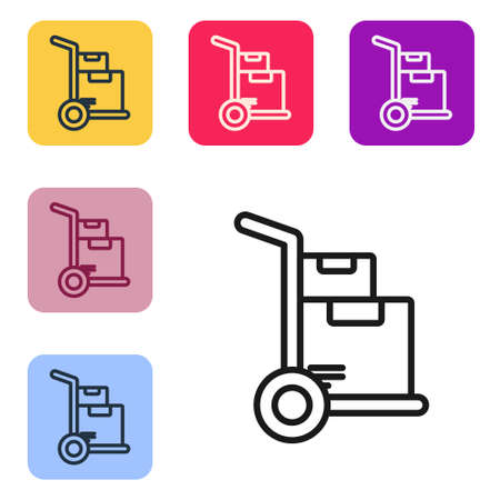 Black line Hand truck and boxes icon isolated on white background. Dolly symbol. Set icons in color square buttons. Vector Illustration.