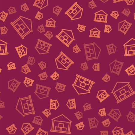 Brown line Warehouse icon isolated seamless pattern on red background.  Vector Illustration. Ilustração