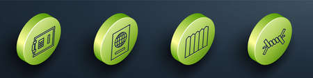 Set Isometric Safe, Passport, Garden fence wooden and Barbed wire icon. Vector. 向量圖像