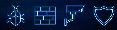 Set line Security camera, System bug concept, Bricks and Shield. Glowing neon icon on brick wall. Vector.