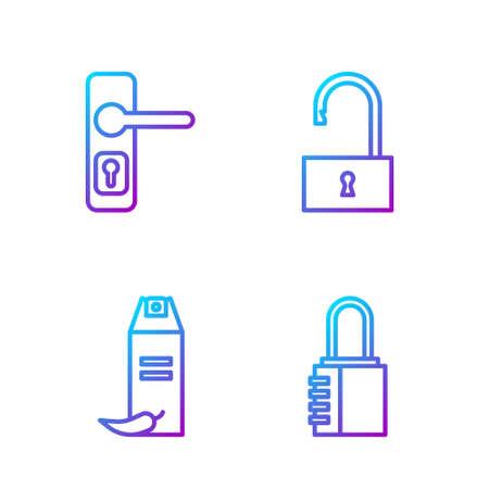 Set line Safe combination lock, Pepper spray, Door handle and Open padlock. Gradient color icons. Vector.