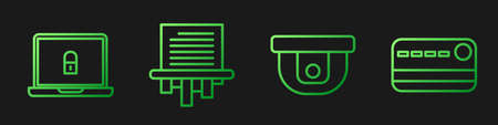 Set line Motion sensor, Laptop and lock, Paper shredder and Credit card. Gradient color icons. Vector.